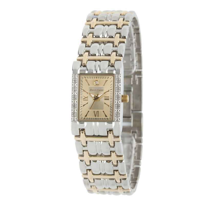 61539: Ladies Personalized Diamond Accent Two Tone Watch