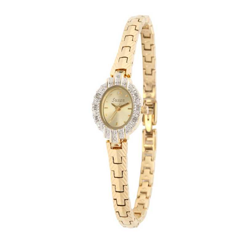 61575G: Ladies Personalized Diamond Accent Gold Tone Watch
