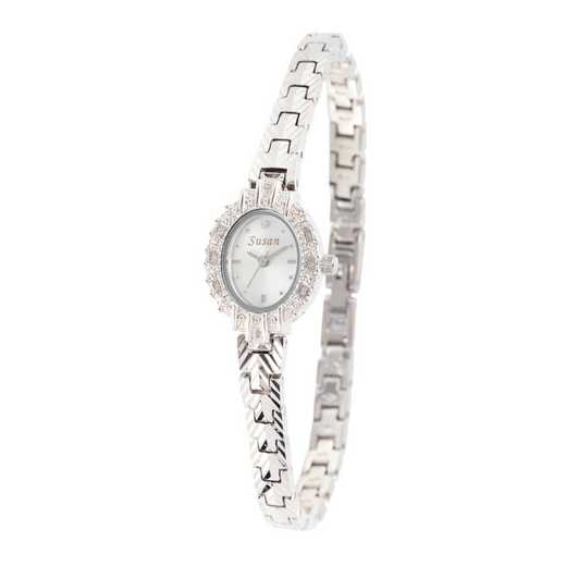 61575S: Ladies Personalized Diamond Accent Silver Tone Watch