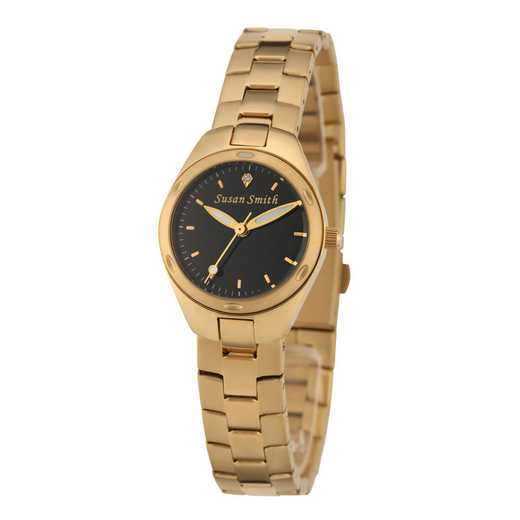 61927-1C: Ladies Personalized Black Dial Gold Tone Link Watch