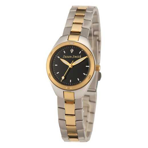 61927-1D: Ladies Personalized Black Dial Two Tone Link Watch