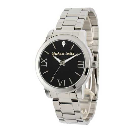 69807-C: Men's Personalized Diamond Accent Silver Tone Watch