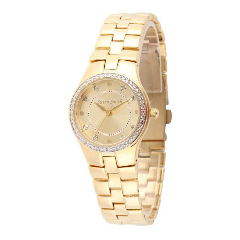 75234-6E-1A: Ladies Personalized Diamond Accent Gold Tone Watch