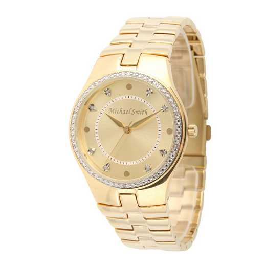 75234-6E-1: Men's Personalized Diamond Accent Gold Tone Watch