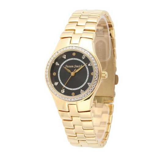75234-6E-8A: Ladies Personalized Diamond Accent Gold Tone Watch