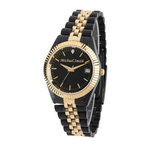 PW00001: Men's Personalized Black and Gold Watch