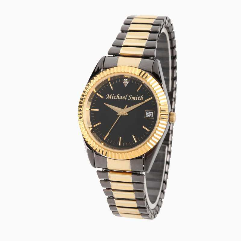PW00003: Men's Personalized Black and Gold Watch