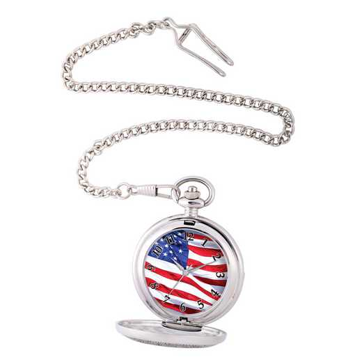 PW00072: Pocket Watch USA Flag Silver Tone