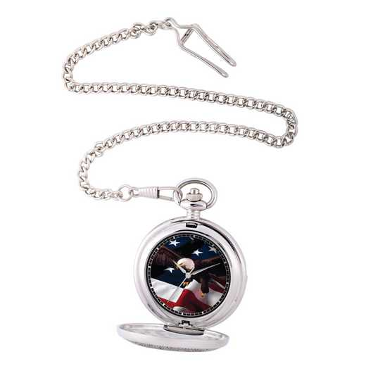 PW00073: Pocket Watch USA Flag Silver Tone