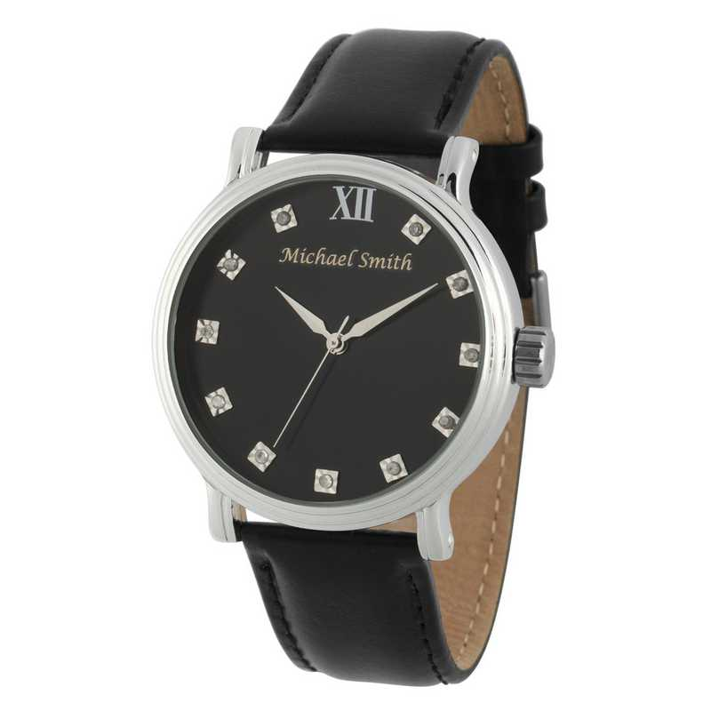 PW00239: Men's Personalized Black Leather Band Watch