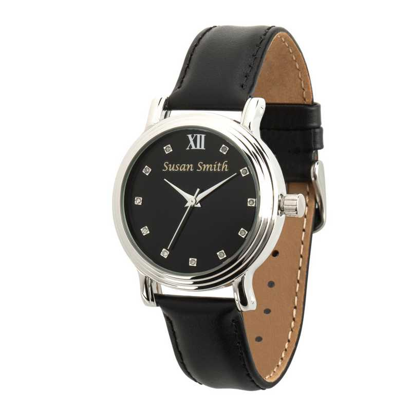 PW00241: Ladies Personalized Black Leather Band Watch
