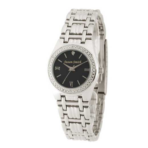 W000790: Ladies Personalized Diamond Accent  Silver Tone Link Watch