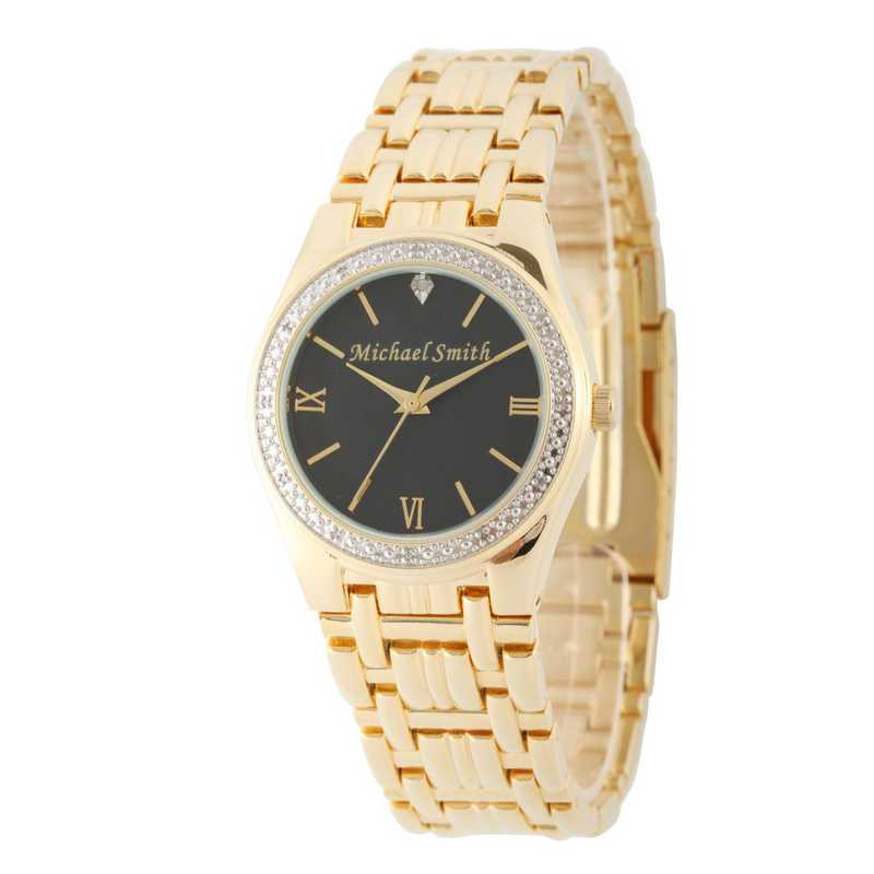 W000795: Men's Personalized Diamond Accent Gold Tone Watch