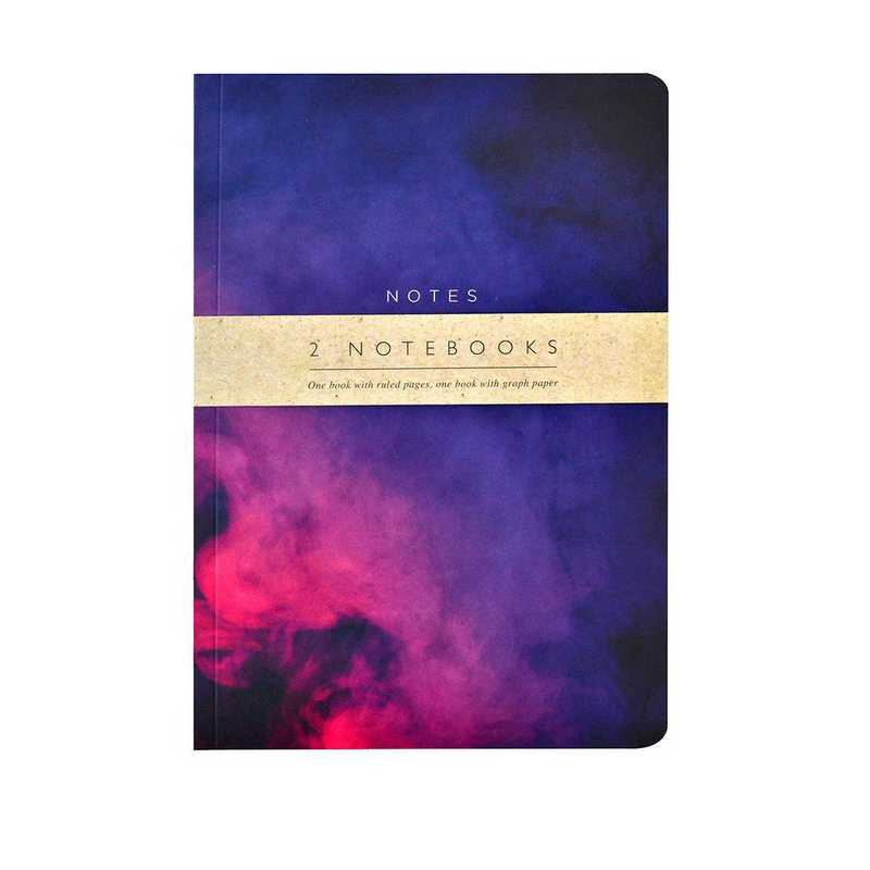 GTPNB09: Portico/AW16 Notebooks  PURPLE ABSTRACT A5 NB 2 Set