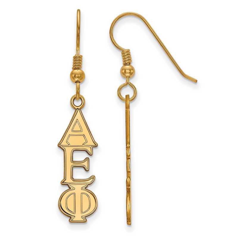 GP004AEP: Strlng Slvr with Gold Plating LogoArt Alpha Epsilon Phi Dangle Med Erring