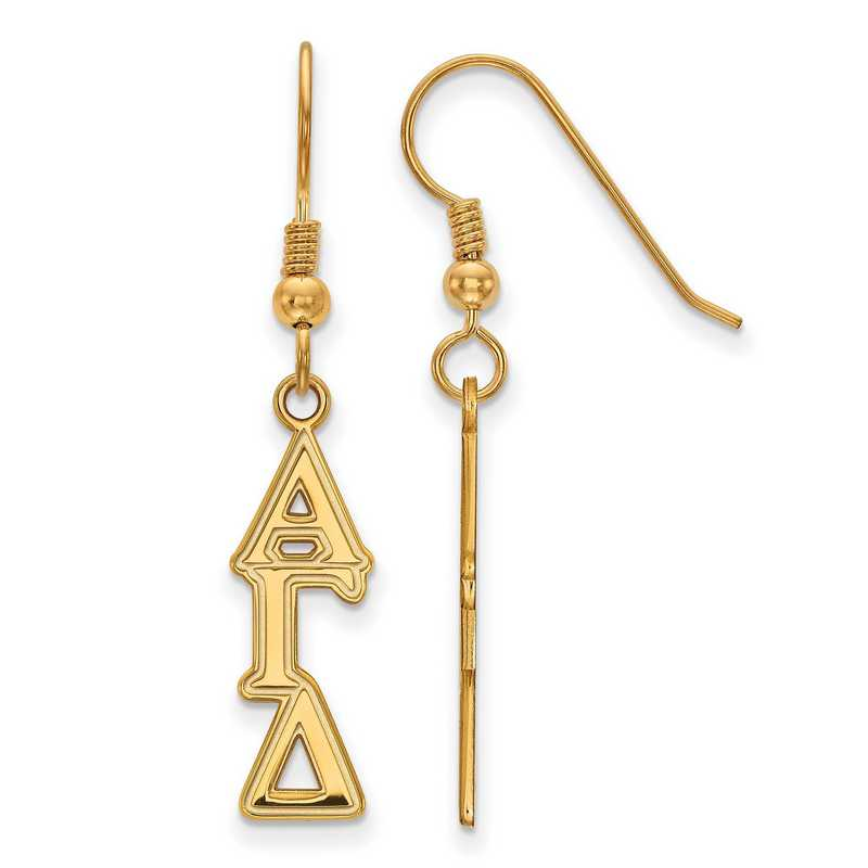 GP004AGD: Strlng Slvr with Gold Plating LogoArt Alpha Gamma Delta Dangle Sml Erring