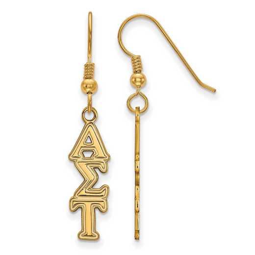 GP004ALS: Strlng Slvr with Gold Plating LogoArt Alpha Sigma Tau Dangle Med Erring