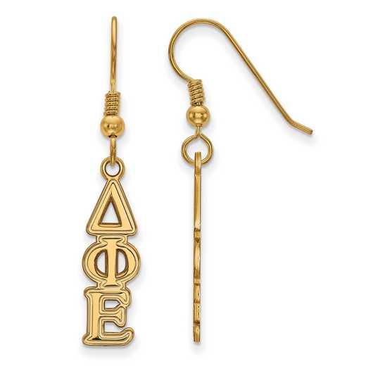 GP004DPH: Strlng Slvr with Gold Plating LogoArt Delta Phi Epsilon Dangle Sml Erring