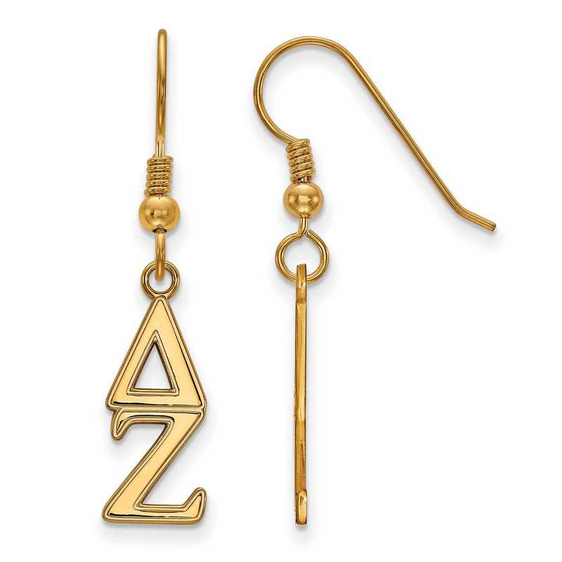 GP004DZ: Strlng Slvr with Gold Plating LogoArt Delta Zeta Dangle Sml Erring