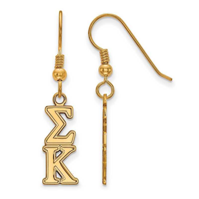 GP004SKP: Strlng Slvr with Gold Plating LogoArt Sigma Kappa Dangle Sml Erring