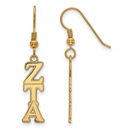 GP004ZTA: Strlng Slvr with Gold Plating LogoArt Zeta Tau Alpha Dangle Med Erring