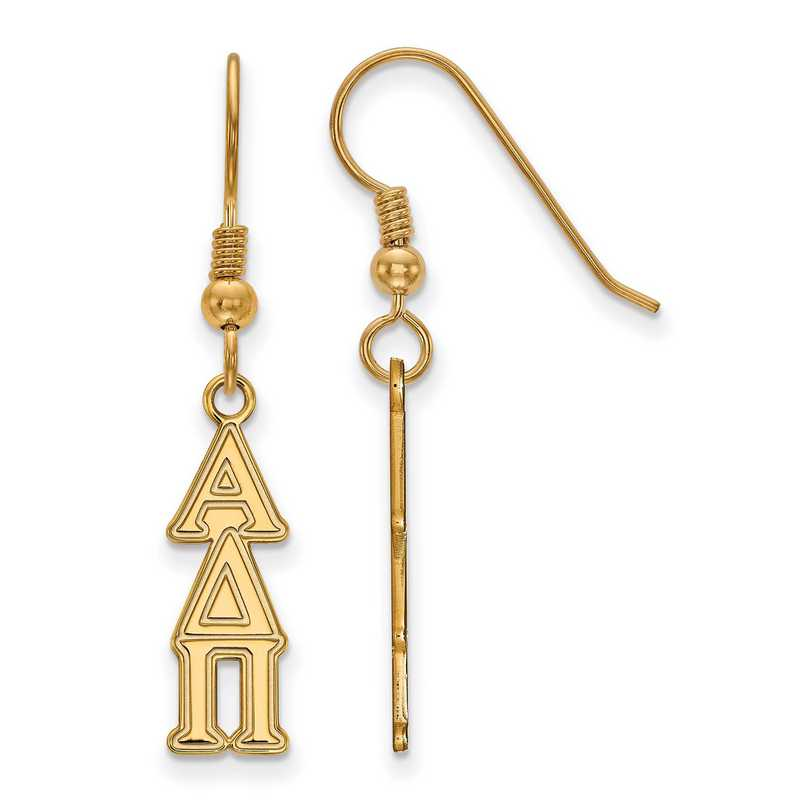GP026ADP: Strlng Slvr with Gold Plating LogoArt Alpha Delta Pi Sml Dangle Erring