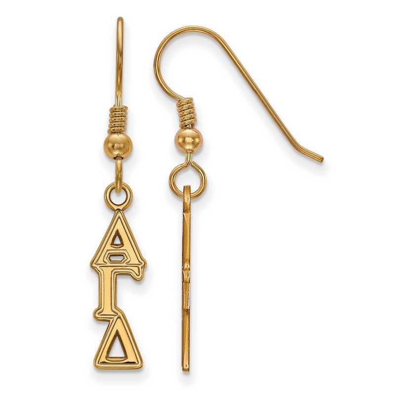 GP026AGD: Strlng Slvr with Gold Plating LogoArt Alpha Gamma Delta XS Dangle Erring