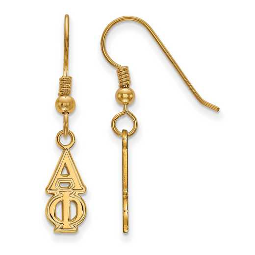 GP026APH: Strlng Slvr with Gold Plating LogoArt Alpha Phi Sml Dangle Erring