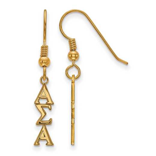 GP026ASI: Strlng Slvr with Gold Plating LogoArt Alpha Sigma Alpha Sml Dangle Erring