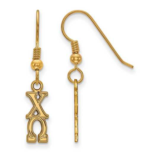 GP026CHO: Strlng Slvr with Gold Plating LogoArt Chi Omega Sml Dangle Erring