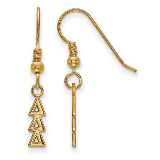 GP026DDD: Strlng Slvr with Gold Plating LogoArt Delta Delta Delta Sml Dangle Erring