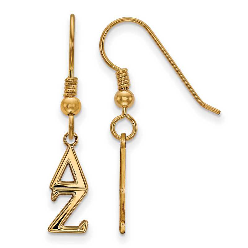 GP026DZ: Strlng Slvr with Gold Plating LogoArt Delta Zeta XS Dangle Erring