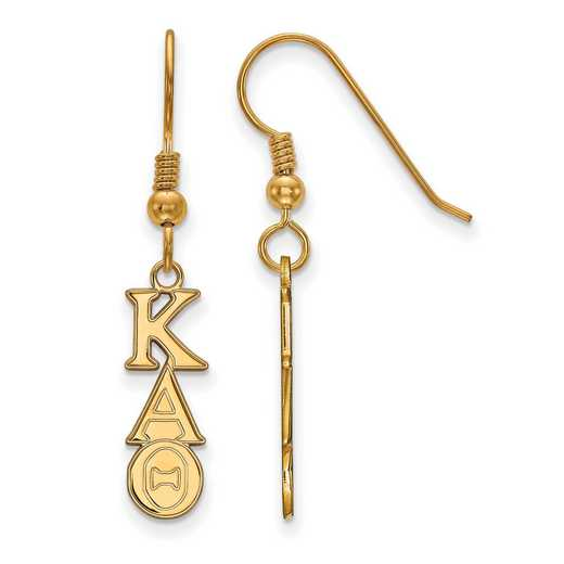 GP026KAT: Strlng Slvr with Gold Plating LogoArt Kappa Alpha Theta XS Dangle Erring