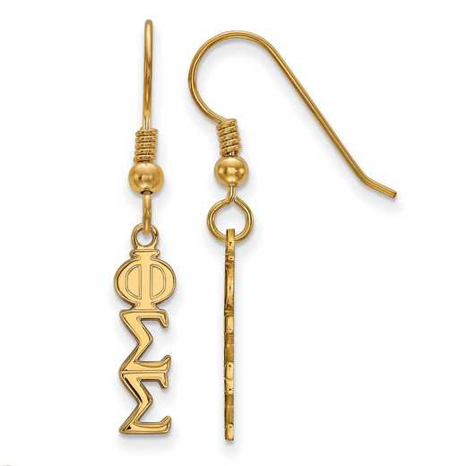 GP026PSS: Strlng Slvr with Gold Plating LogoArt Phi Sigma Sigma Sml Dangle Erring