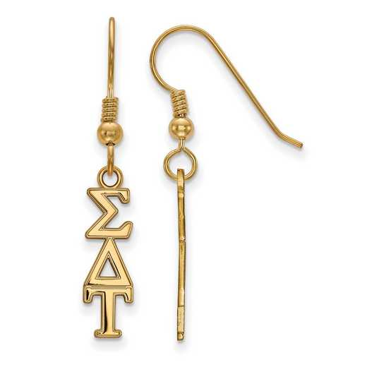 GP026SDT: Strlng Slvr with Gold Plating LogoArt Sigma Delta Tau XS Dangle Erring