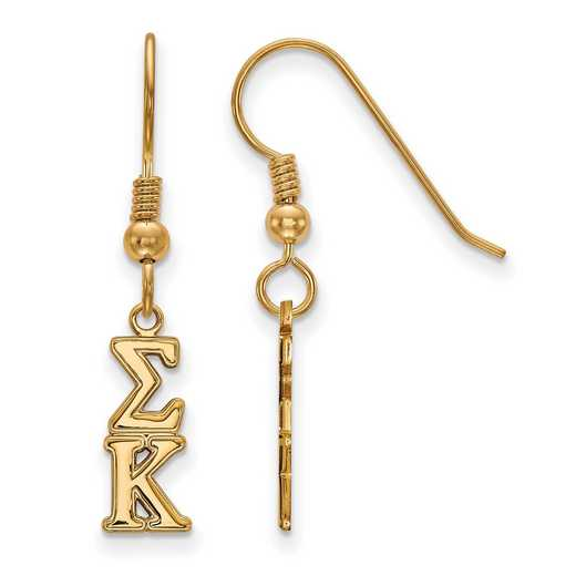GP026SKP: Strlng Slvr with Gold Plating LogoArt Sigma Kappa XS Dangle Erring