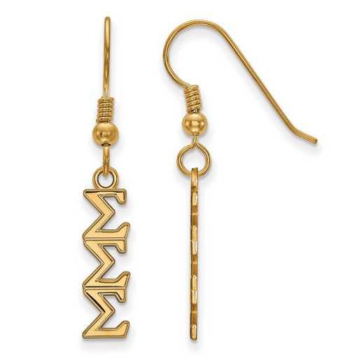 GP026SSS: Strlng Slvr with Gold Plating LogoArt Sigma Sigma Sigma Sml Dangle Erring