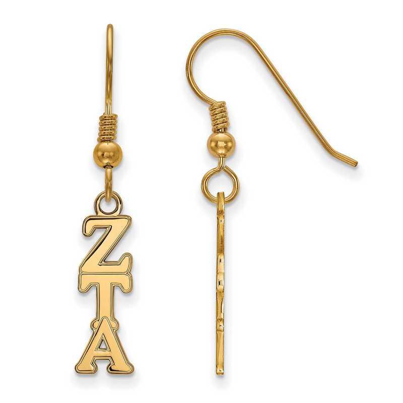 GP026ZTA: Strlng Slvr with Gold Plating LogoArt Zeta Tau Alpha Sml Dangle Erring