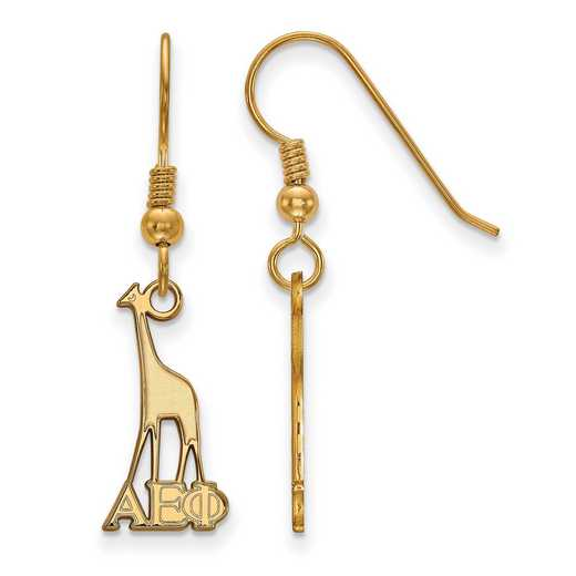 GP037AEP: Strlng Slvr with Gold Plating LogoArt Alpha Epsilon Phi Sml Dangle Erring