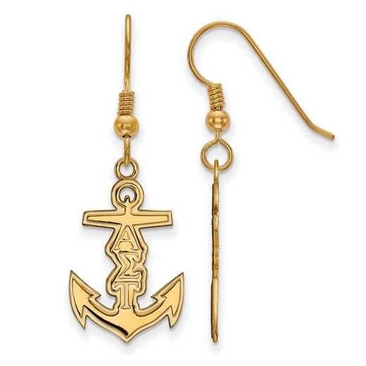 GP037ALS: Strlng Slvr with Gold Plating LogoArt Alpha Sigma Tau Sml Dangle Erring