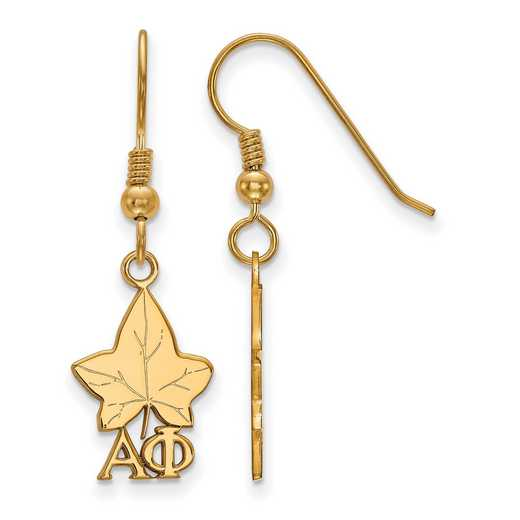 GP037APH: Strlng Slvr with Gold Plating LogoArt Alpha Phi Sml Dangle Erring