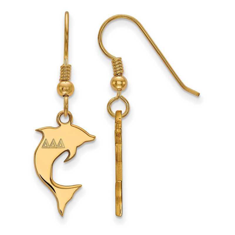 GP037DDD: Strlng Slvr with Gold Plating LogoArt Delta Delta Delta Sml Dangle Erring