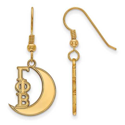 GP037GPB: Strlng Slvr with Gold Plating LogoArt Gamma Phi Beta Sml Dangle Erring