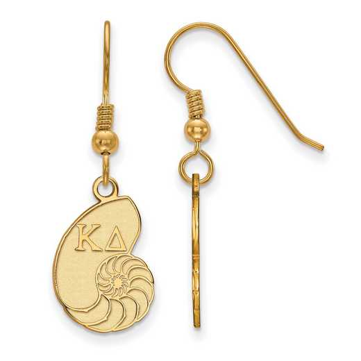 GP037KD: Strlng Slvr with Gold Plating LogoArt Kappa Delta Sml Dangle Erring