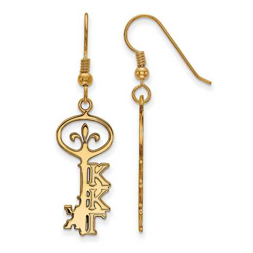 GP037KKG: Strlng Slvr with Gold Plating LogoArt Kappa Kappa Gamma Sml Dangle Erring