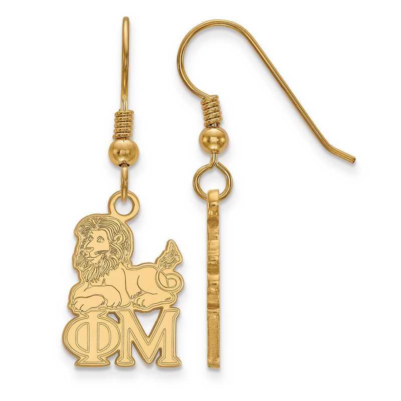 GP037PHM: Strlng Slvr with Gold Plating LogoArt Phi Mu Sml Dangle Erring