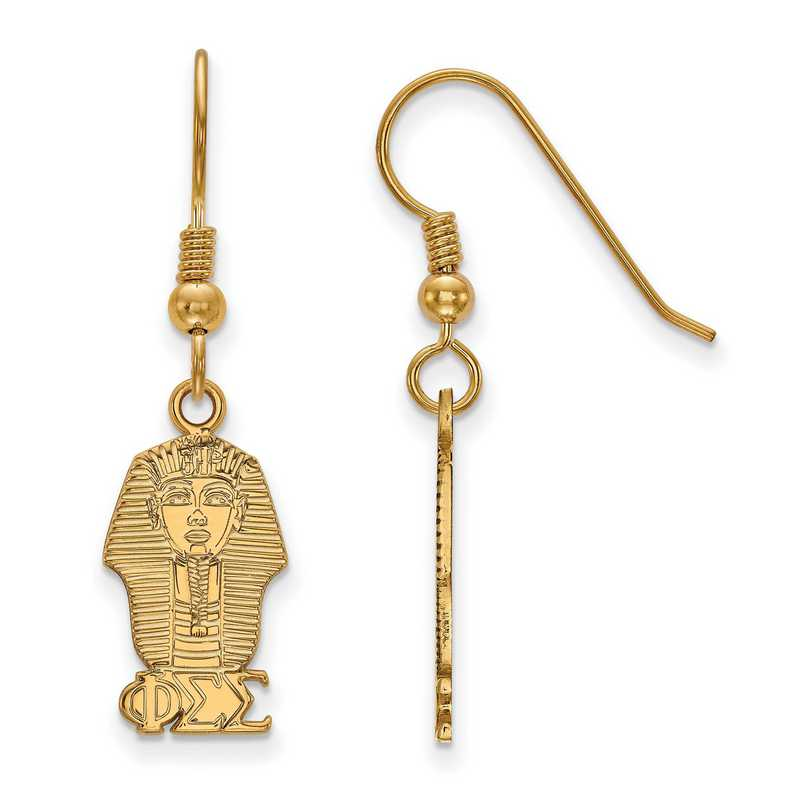 GP037PSS: Strlng Slvr with Gold Plating LogoArt Phi Sigma Sigma Sml Dangle Erring