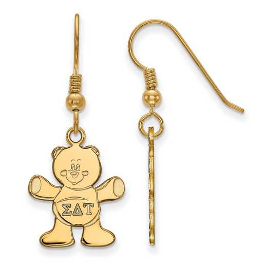 GP037SDT: Strlng Slvr with Gold Plating LogoArt Sigma Delta Tau Sml Dangle Erring