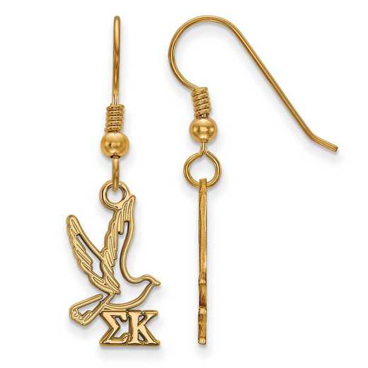 GP037SKP: Strlng Slvr with Gold Plating LogoArt Sigma Kappa Sml Dangle Erring