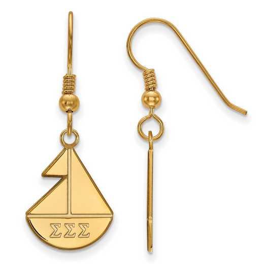 GP037SSS: Strlng Slvr with Gold Plating LogoArt Sigma Sigma Sigma Sml Dangle Erring